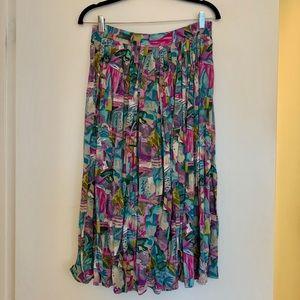 Vintage plaited midi skirt with pockets